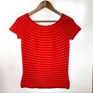 NEW Armani Collezioni Striped Wool Knit Top